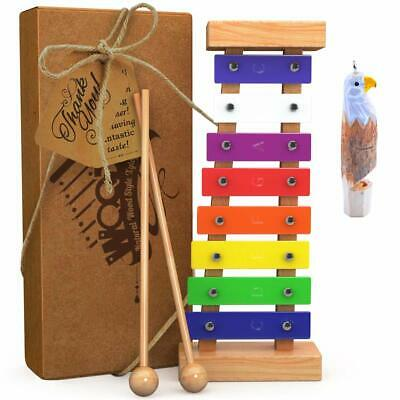 aGreatLife Wooden Xylophone Metal Toy Music With Free Eagle Whistle for Kids