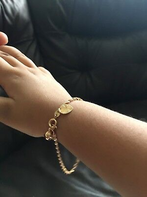 "9ct 9k Yellow ""Gold Filled"" Girls (7-13 Years) Twisted Chain Bracelet .5.9"" Gift"