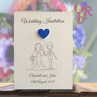 10 Wedding Invitations Evening Invites Personalised & Handmade Lots of Colours