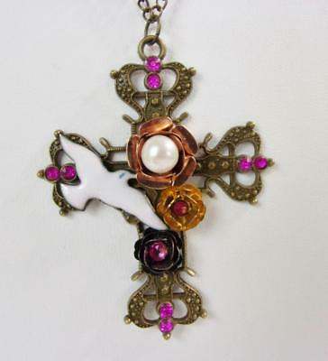 Vintage Brass Cross & Chain Over The Head Necklace w Dove, Pearl & Rhinestone