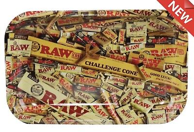 Raw MIX Rolling Tray SMALL 7x10.75 New Metal Tobacco Rolling Smoke Cigarette
