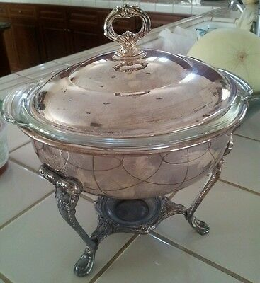 Vintage SHERIDAN Silver-Plated FOOD WARMER / Chafing Base w/ Fire-King Ovenware