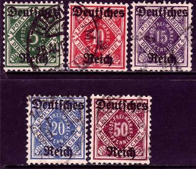 WURTTEMBURG, German States, SC O59-O63, 1920 Official stamps, used, CV $72