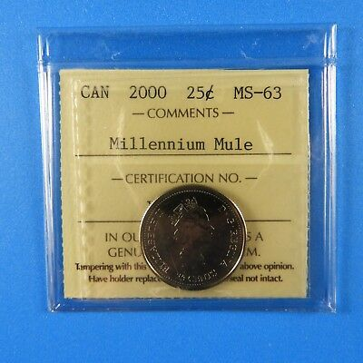 2000 Canada MILLENNIUM MULE 25 Cent Error Coin MS-63 Trending Value $500+