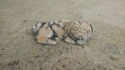 Vintage concrete cement Garden yard statuary statue lying down puppy dog nice