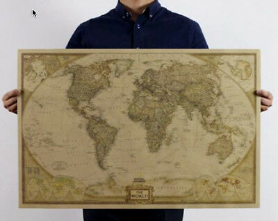 Large Vintage World Map Detailed Antique Poster Map size 28 x 18