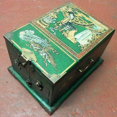 Antique Chinese Wood MAKE-UP VANITY FOLD-UP Mirror Jewellery BOX 3 Drawers GREEN
