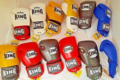 Twins KING PRO Muay Thai Kickboxing Large cuff & hand compartment Leather Gloves