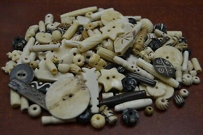 100 PCS ASSORT CARVED BIG TUBE BUFFALO BONE BEADING BEADS #BD-315