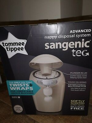 Tommee Tippee Sangenic Tec Nappy Disposal Tub Grey Waste Bathroom Bin Baby Bag