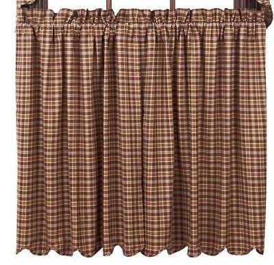 """Prescott Lined Brown Plaid Cafe Curtains Countrytyle Window Tier Set 36"""" L"""