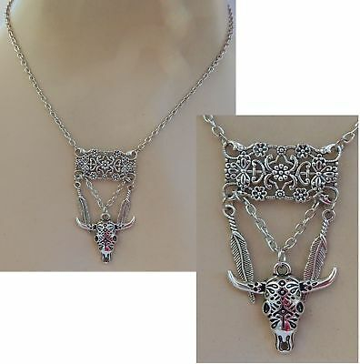 Steer Skull Necklace Feathers Pendant Jewelry Handmade NEW Chain Silver Women