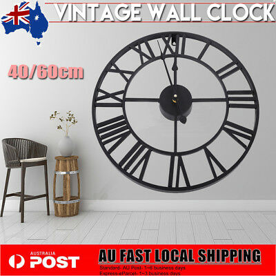 40/60/80cm Round Wall Clock Metal Industrial Vintage French Provincial Antique