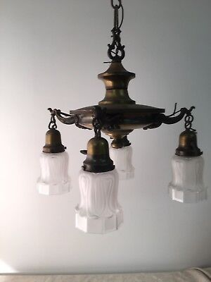 Antique Arts & Crafts Mission Style Brass Ceiling Lamp 4 Light Fixture w/ Shades