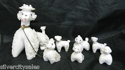 Lot Of 7 Vintage Spaghetti French Poodles Dog Puppies Figurines Made In Japan