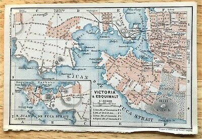 1907 Original VICTORIA, Canada Antique Color Map - Authentic BAEDEKER w/ Streets