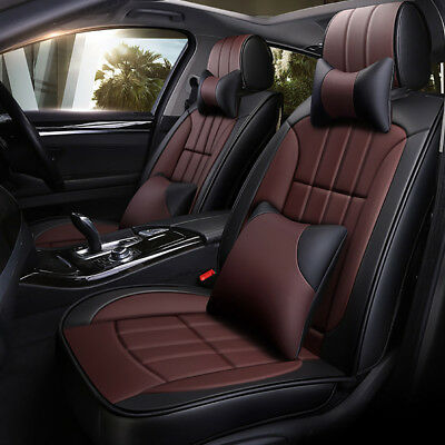 Coffe PU Leather Car Seat Cover 5-Seat Front+Rear Full Set Universal Protector