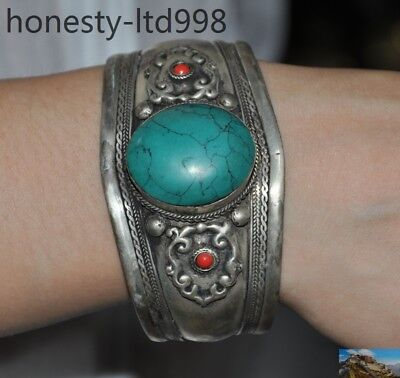 Old Tibet Tibetan silver Inlay turquoise Red Coral Bracelet Bangle Jewelry