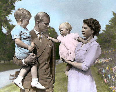 "QUEEN ELIZABETH II PHILLIP CHARLES ANNE ENGLAND UK 8x10"" HAND COLOR TINTED PHOTO"