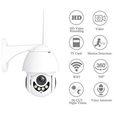 Wireless 5X Zoom 1080P HD Wifi Outdoor IP Camera PTZ Security CCTV Night VisionH