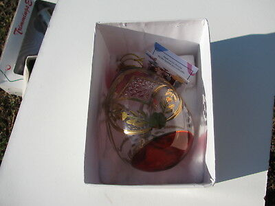 Rare Fine Egyptian Hand Blown Etched Egg Shape Glass Christmas Tree Ornament