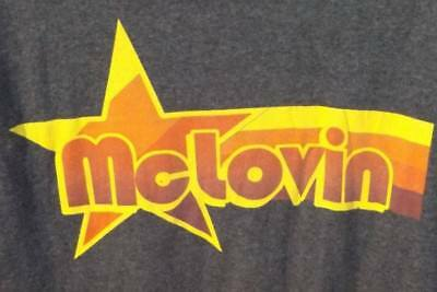 2010 Superbad Movie McLovin Graphic Men's 60/40 Dark Gray Shirt Medium