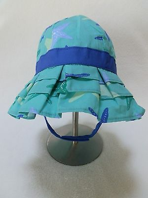 NEW Gymboree Baby Girls Sun Hat w strap Aqua Blue Beach Starfish size 6- 2d0b2b15e4f4
