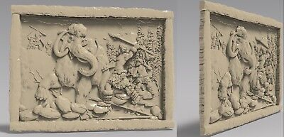 3D STL Model # ANCIENT HUNTING # for CNC Aspire Artcam 3D Printer 3D MAX Rhino