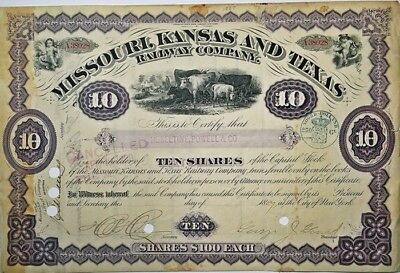 GEORGE JAY GOULD Signed Railroad Stock 1887 Missouri, Kansas & Texas