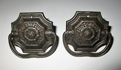 Pair Matching Stamped Victorian Drawer Pulls Embossed Square Metal Antique Pull