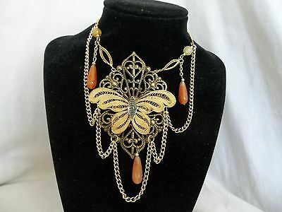Victorian Style Moth Butterfly Gold Tone Brass Orange Yellow Beads Necklace OOAK