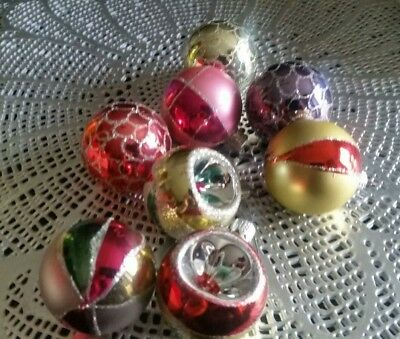 Vintage lot of 8 Glass Hand Decorated European Ornaments Excellent Condition