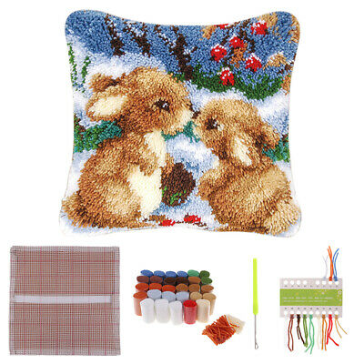 AU Two Rabbits Latch Hook Kit Pillow Cushion Cover DIY Needlework Crocheting DIY