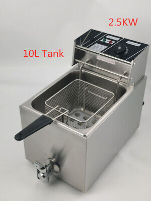 New 10 Litre Commercial Electric Deep Fryer 1-Tank Fryer With Lid MD