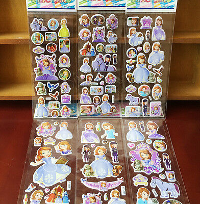 Lot 100 sheet 3D sofia the first small Stickers Children's Party Gifts 21x7.5cm