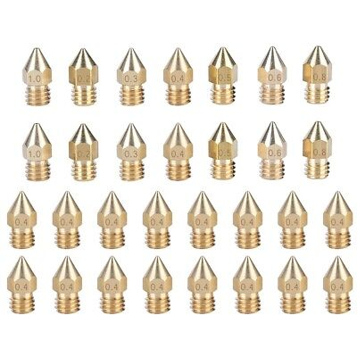 30x MK8 Brass Extruder Nozzle For CR-10 3D Printer 0.2/0.3/0.4/0.5/0.6/0.8/1.0mm