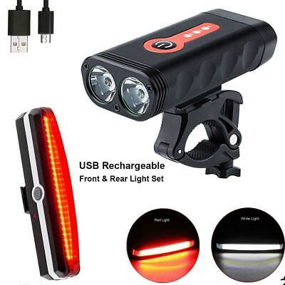 USB Rechargeable MTB Bike Bicycle Cycling LED Head Front Light Rear Tail Lamp UK
