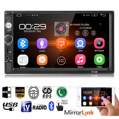 7in Double 2DIN HD Touch Screen Bluetooth Car Stereo MP5 Player FM Radio AUX USB