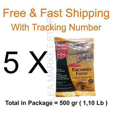 Bayer racumin 5 x 100 grams 500 gr rat poison mouse free & fast shipping pellets