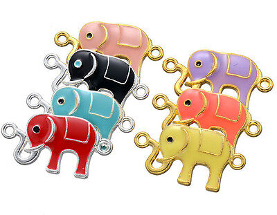 Lot multicolor cute elephant Metal Charms Pendants DIY Jewellery Making 3.16cm