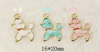 New Lot cute white green pink poodle dog Metal Charm Pendants Jewelry Making