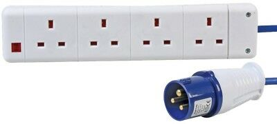 Extension Lead 4 Gang to 16A Plug 2m Generator Camping Hookup
