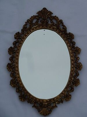 Vintage Oval Brass Metal Wall Mirror