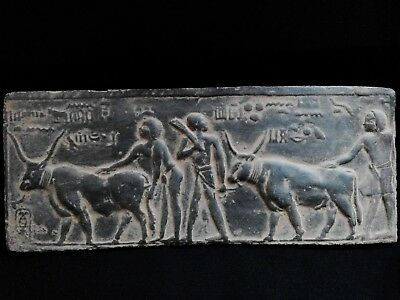 EGYPTIAN ANTIQUES ANTIQUITIES Farmers Plowing Field with Two Oxen 1100-1001 BC