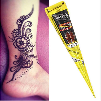 Natural Herbal Henna Cones Temporary Tattoo kit Black Body Art Paint Mehandi
