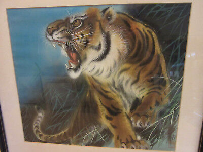 Vintage Chinese/Japanese Original painting on Silk, Framed Signed Roaring Tiger