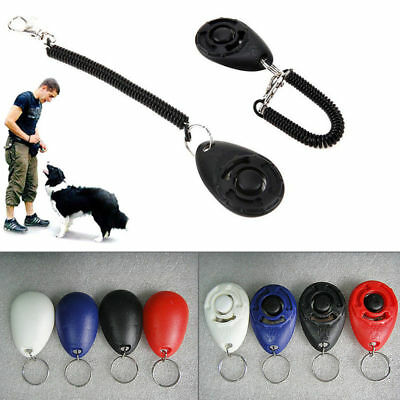 New Dogs Pets Click Clicker Training Obedience Agility Trainer Aid Wrist Strap
