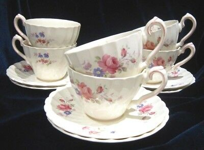 Myott Fragrance Cups & Saucers - Olde Chelsea - Set of 6 - Staffordshire England