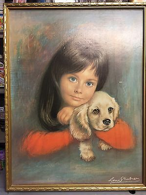 Framed Vintage,retro,1960's portrait of a girl and a dog print.Signed.