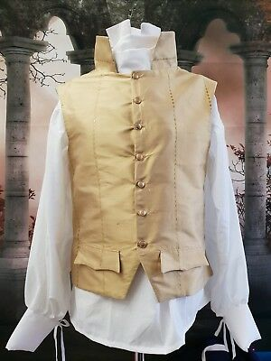 Late Georgian Style Waistcoat In Embroidered 100% Silk